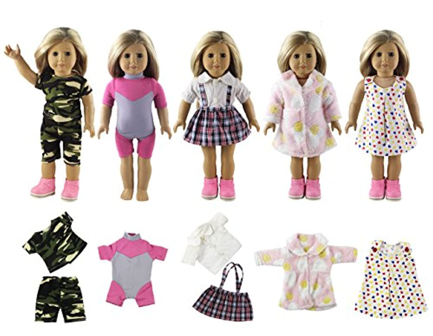 HongShun New 5 Set Fashion Different Style Clothes for 46cm American Girl Doll