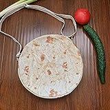 ファッション女性キャンバスメキシコの肉ロールショルダーメッセンジャーバッグ小さなラウンドバッグ、女性ブリトージッパーメッセンジャーバッグショルダーバッグノベルティファッションラウンドパック (B)