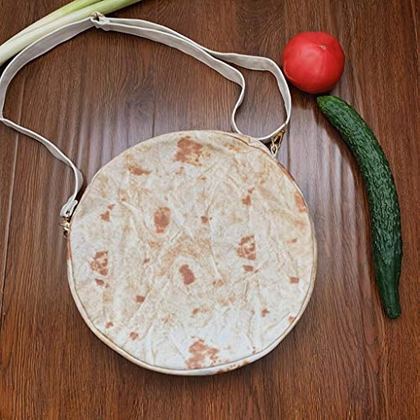 請求書抜粋朝食を食べるファッション女性キャンバスメキシコの肉ロールショルダーメッセンジャーバッグ小さなラウンドバッグ、女性ブリトージッパーメッセンジャーバッグショルダーバッグノベルティファッションラウンドパック (B)