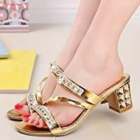shoppiy Summer New Fashion Women Diamonds Open Toe Shoes Sexy Sandals Non-Slip Sandals 4 Color Size:34-41