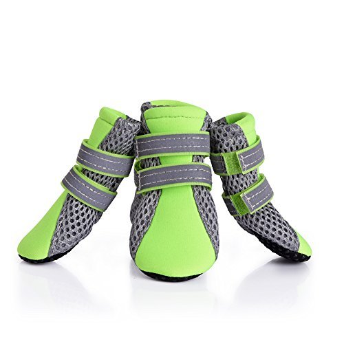 犬の靴 犬靴 柔らかく軽く履きやすい メッシュシューズ 肉球保護 滑り止め 犬用靴 1袋4個入 M