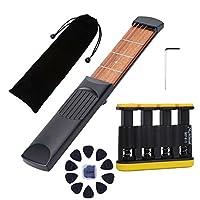 Fityle ポータブル 4フレット 6弦ポケットギター トラベルギター 収納バッグ レンチ ピック付き