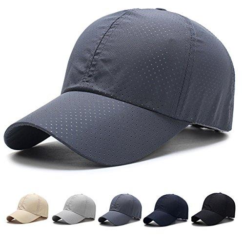 キャップ 帽子,WOOSOO 夏 秋 メッシュキャップ 通気性抜群 日除け UVカット 紫外線対策 男女兼用 登山 釣り ゴルフ 運転 アウトドアなどに 無地 全5色(濃いグレー)