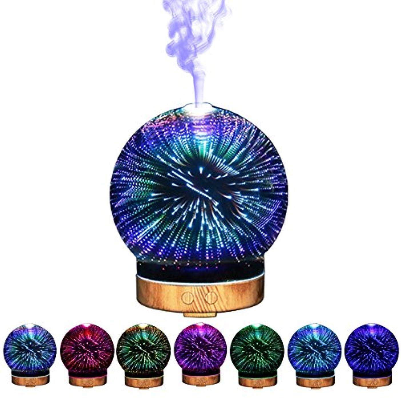 裏切る検出廃止3Dガラスエッセンシャルオイルディフューザー - 超音波アロマ香りディフューザー - クールミスト加湿器色の変更LED夜間照明 - アロマテラピーとオリーブのココナッツオイル用