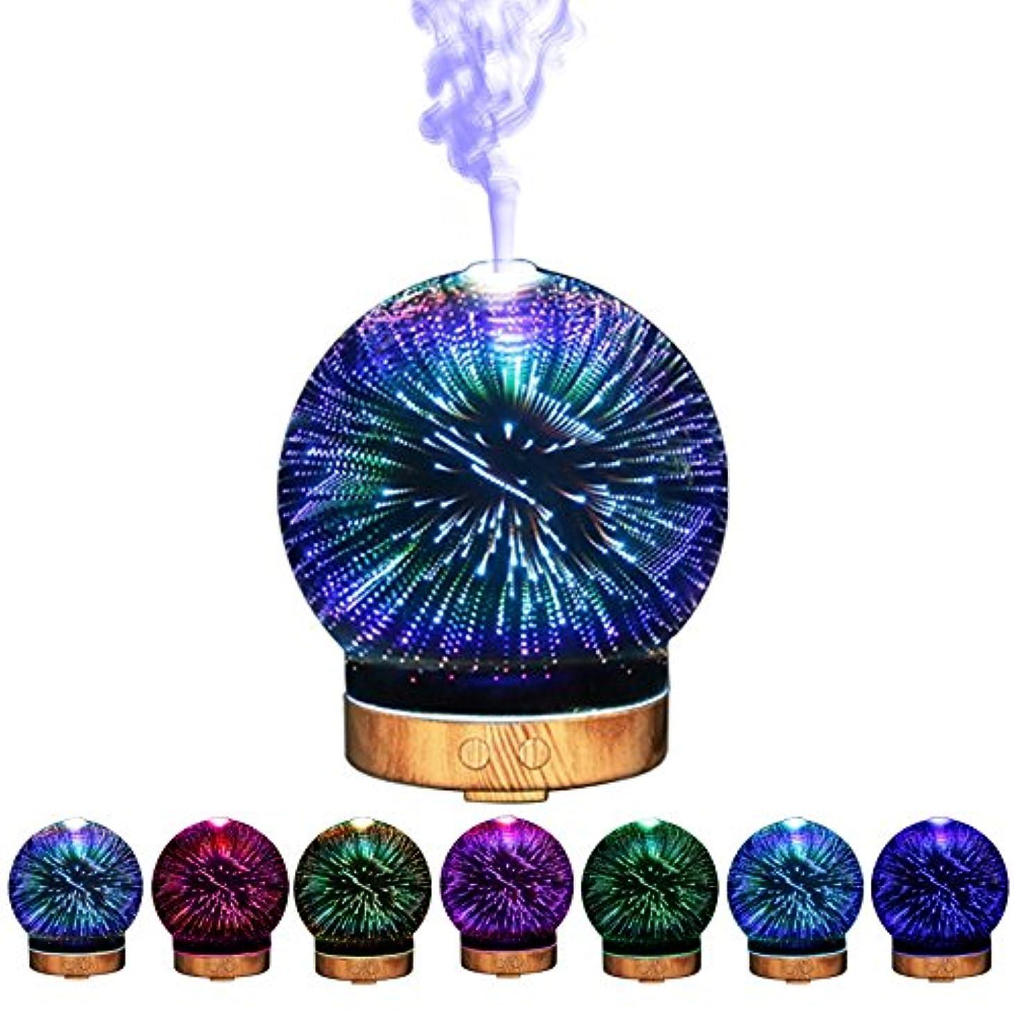 ファイナンス冷蔵する曇った3Dガラスエッセンシャルオイルディフューザー - 超音波アロマ香りディフューザー - クールミスト加湿器色の変更LED夜間照明 - アロマテラピーとオリーブのココナッツオイル用