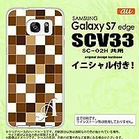 SCV33 スマホケース Galaxy S7 edge ケース ギャラクシー S7 エッジ イニシャル スクエア 茶 nk-scv33-1021ini D
