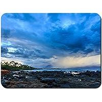 ハワイ、海岸、雲、嵐、ヤシの木、石、夕暮れ パターンカスタムの マウスパッド 海 (26cmx21cm)