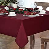 Christmas Tablecloth, Xmas Red Table Cloth, Waterproof Tablecloths Rectangle for New Year Winter Dining Party Home Decorations, 60 x 84 inch
