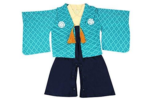 紋付袴(はかま)風 ベビー羽織付きロンパース 【247153】80cm グリーン