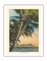 ダイヤモンドヘッドクレーター - ワイキキビーチ、ハワイのサンセットビュー - ビンテージなハワイアンカラーのハガキ c.1920s - アートポスター - 28cm x 36cm