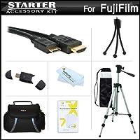 スターターアクセサリーキットfor the Fuji Fujifilm x-s1、xs1, x100sデジタルカメラはデラックス携帯ケース+ 50三脚with Case + Mini HDMIケーブル+ USB 2.0カードリーダー+ LCDスクリーンプロテクター+ミニ卓上三脚+マイクロファイバークリーニングクロス
