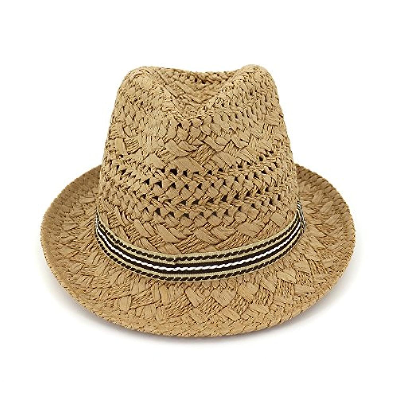 Ruiyue 夏のストロー帽子、手作りの帽子中空デザインストロー夏の女性用フェドラボホビーチハット (色 : Brown)