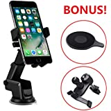 TERSELY Universal Cell Phone Car Holder Mount, 360°Rotating Car Phone Holder for Apple iPhone X/XS MAX/XR-Samsung S10 Plus Note 9, Suction Windshield Dashboard [Extra Dashboard & Vent Clip Included]