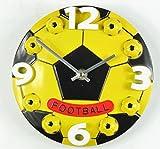 置き 時計 オシャレ サッカー ボール インテリア 雑貨 立体 掛け 時計 クロック 直径 30cm (黄色)