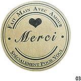 ZHUOTOP 10 Sheet Thank You Adhesive Kraft Label Stickers Cards Envelopes for Wedding Party Gift Black Thank You(12pcs/Sheet)