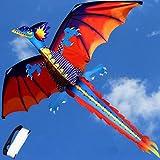 YAOHM 3D ドラゴン 100M 凧 シングルライン テールカイト アウトドア 楽しいおもちゃ 凧 ファミリー アウトドア スポーツ おもちゃ 子供 キッズ