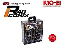 [KYO-EI_Kics]レーシングコンポジットR40 M12×P1.25 iCONIX_キャップ無ホイールナットセット(ブラック×レッド)【RI-03KR】