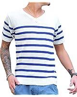 ジョーカーセレクト(JOKER Select) ニット メンズ セーター サマーニット 半袖 Vネック 無地 ボーダー マリン M ホワイト/ブルー(ボーダー)