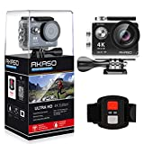 AKASO EK7000 4K WIFI スポーツ カメラ HD 1200万画素30メートル防水170度広角レンズ2インチ LCD 2.4G無線RF リモコンバイクや自転車/カート/車に取り付け可能 空撮やスポーツに最適 二つバッテリー&豊富な付属品付き(ブラック)