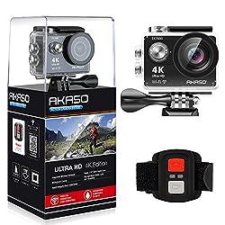 AKASO EK7000 4K WIFI スポーツ カメラ HD 1200万画素30メートル防水170度広角レンズ2インチ LCD 2.4G無線RF リモコンバイクや自転車 カート 車に取り付け可能 空撮やスポーツに最適 二つバッテリー&豊富な付属品付き(ブラック)