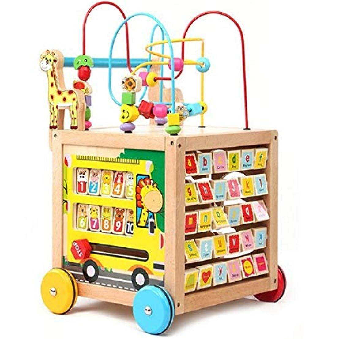 ハッチはず話をするビーズコースター ルーピング おもちゃ 木製活動キューブの多機能学習ビーズ迷路教育玩具 マルチアクティビティ 赤ちゃんおもちゃ人気 お誕生日プレゼント (Color : Multi-colored, Size : Free size)