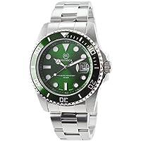 [ブロニカ] ダイバーズウォッチ BRONICA BR-818-GR 日付表示 200m防水 逆回転防止ベゼル 腕時計 メタルバンド グリーン 緑 メンズ