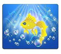 マウスパッドゲーミングマウスパッドナチュラルゴムマウスマット美しい金魚は気泡で水に泳ぐM0A00544