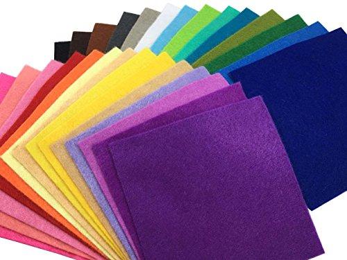 28枚 柔らかいタイプ 羊毛フェルト クラフト DIY手芸用 不織布 選べるサイズ1.4mm厚 カラフル 28色セット ( 15cm x 15cm)
