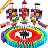 Tebrcon 360個 ドミノ 知育玩具 ゲーム 天然木製 積み木 ドミノ用 倒し ギミック 仕掛け 24種 セット付き 子供 おもちゃ ブロック
