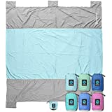 Sand Escape Beach Blanket. Compact Outdoor Beach Mat Made from Strong Parachute Nylon. Large 7' x 9' Size. Includes Built in Sand Anchors & Zippered Valuables Pocket.