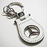 【 Mercedes Benz 】 メルセデスベンツ オフィシャル キーリング レザー&スリーポインテッドスター (ホワイト)