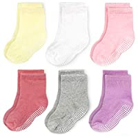 CozyWay Baby Anti Slip Crew Socks 12 Pack with Grips for Toddlers Little Boys Girls Infants Kids Non Skid