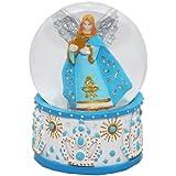 20015 【Minium Collection】 Snowdome ミュージカルスノーグローブ。青。星と天使。【直径】6,5cm