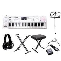 Roland FA-06-SC シンセサイザー 限定ホワイト 61鍵盤 自宅練習セット (スタンド + ダンパーペダル + ヘッドホン + 譜面台 + 高低イス) 初心者セット ローランド