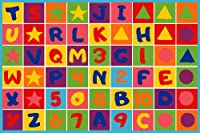[Mybecca]Mybecca Kids Rug NUMBERS AND LETTERS 3' X 5' Children Area Rug for Playroom & Nursery Non Skid Gel Backing [並行輸入品]