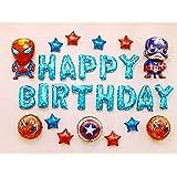 キャプテンアメリカ 誕生日 飾り付け スパイダーマン スーパーヒーロー スーパーマン キャラクター 子供 男の子 可愛い 格好いい happy birthday ガーランド バルーン 風船 スター 盾 ポンプ 27枚セット