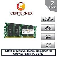 64MBキット( 2x ) Ramモジュール32mbメモリのゲートウェイファミリPC g6180( 60ns ) ( 6604009)デスクトップメモリアップグレードby US Seller