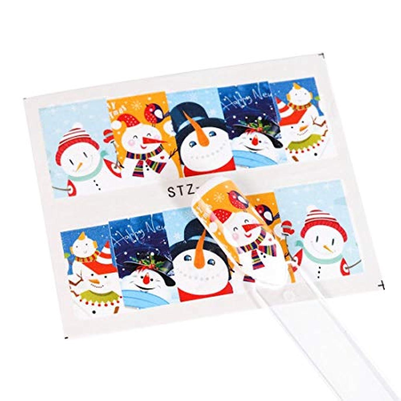 代表してロック解除思い出させるSUKTI&XIAO ネイルステッカー 1ピースクリスマス新年ネイルステッカーウォーターデカールスライダータトゥースノーフレークサンタフルラップマニキュア装飾箔、Stz798