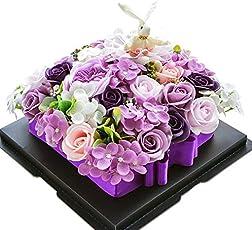 ソープフラワー 石鹸花束ボックス ギフトボックス コットン ウサギ ちょう结び 枯れない花 ブーケ バラ型造花 創意誕生日プレゼント 結婚記念日 進学祝い 卒業お祝い 敬老の日 記念日 母の日 父の日