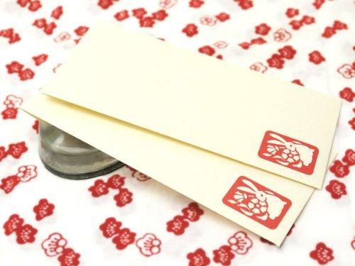 うさぎ柄封筒2枚入 (花うさぎ)