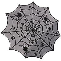 SONONIA ハロウィン 恐ろしい 装飾 ラウンド スパイダーウェブ テーブルクロス 暖炉カバー