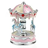 (Pale Dogwood) - Boutique TANGON 3-horse Carousel Music Box Light Up (Pale Dogwood)