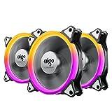 Aigo 改良版【3個セット】 PC冷却ケースファン 12cm 超静音RGBカラー LEDリングを装着した水冷ラジエーターファン (C3)