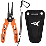 """KastKing 7"""" Fishing Pliers, 420 Stainless Steel, Saltwater Resistant Fishing Gear, Tungsten Carbide Cutters,Corrosion Resistant Teflon Coating, Rubber Handle, Molded Sheath, Lanyard."""