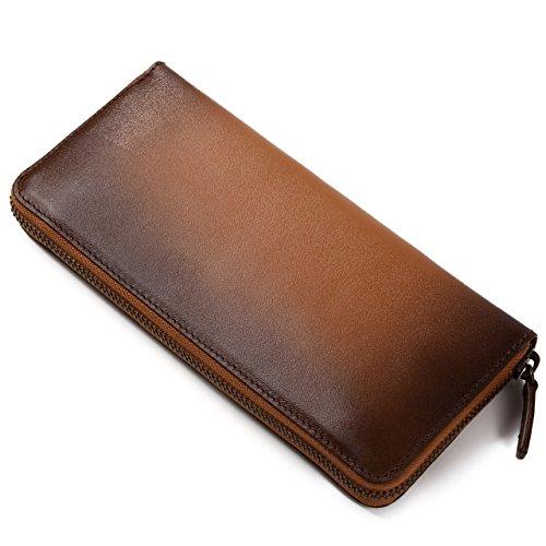 (ラファエロ) Raffaello 一流の革職人が作る スフマート製法で染色したメンズラウンドファスナー長財布 (ラセットブラウン)