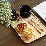 天然木製 2タイプ 仕切り付き プレートランチトレー ナチュナル お菓子ケーキティー コーヒートレー 木製皿 杉 四角 B-type,Free
