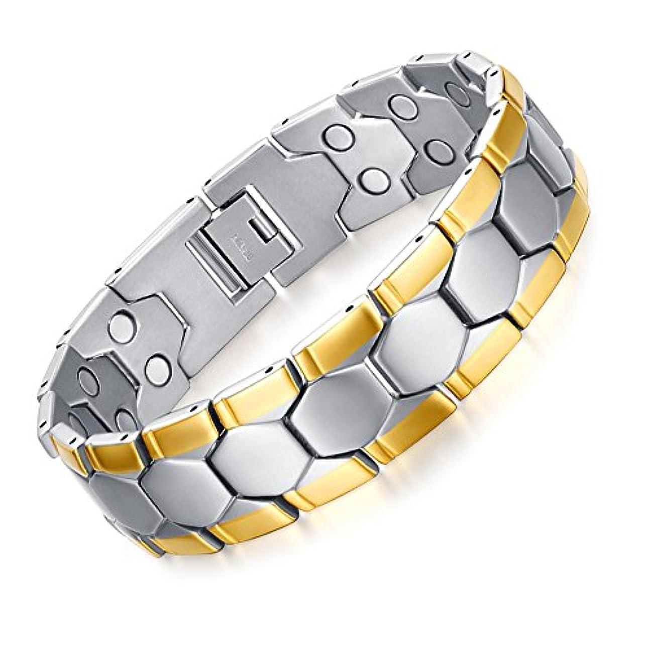 ペックいらいらする贅沢ブレスレット メンズ ステンレス製 紳士 磁気ブレスレット 健康 銀金の2色 21.5cm 【サイズ調整工具が付属】