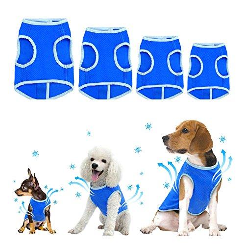 Zunea 犬用 冷却ベスト 小中型犬用 ひんやり タンクトップ お散歩 熱中症対策 暑さ対策 冷感 ベスト 夏 涼しいクール シャツ お出かけ 訓練 ペット服 犬服 夏服 ブルー M