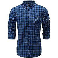 Emiqude Men's Slim Fit Flannel Cotton Casual Long Sleeve Button Up Plaid Dress Shirt