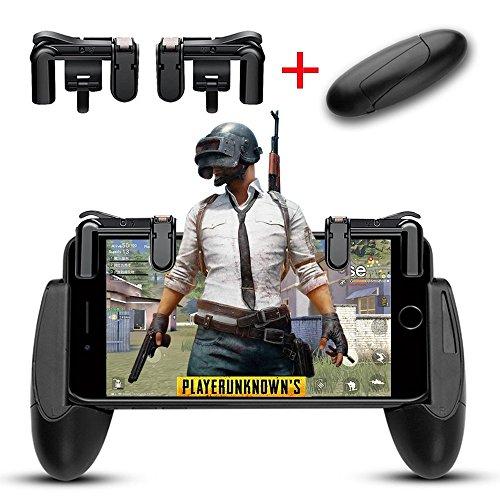 荒野行動 射撃モバイルゲームコントローラ, iPad Mobile Game Controller PUBG L1R1 Joystick Shooter Controller + Game Controller Handle Holder 感応射撃 高耐久ボタン
